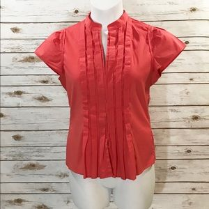 Banana Republic Pleat-Front Short Slv Shirt - M